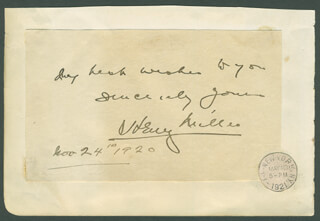 Autographs: HENRY MILLER - AUTOGRAPH SENTIMENT SIGNED 11/24/1920 CO-SIGNED BY: WILLIAM ROSCOE THAYER