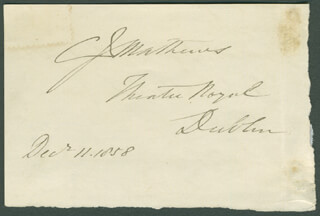CHARLES JAMES MATHEWS - AUTOGRAPH 12/11/1858 CO-SIGNED BY: WALTER MONTGOMERY