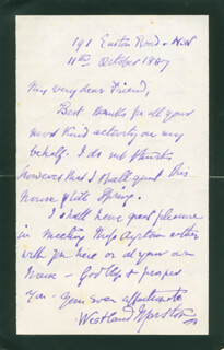WESTLAND (JOHN) MARSTON - AUTOGRAPH LETTER SIGNED 10/11/1887 CO-SIGNED BY: ENEAS SWEETLAND E. S. DALLAS