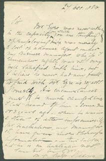 MARY FRANCES SCOTT-SIDDONS - AUTOGRAPH LETTER SIGNED 12/27/1884