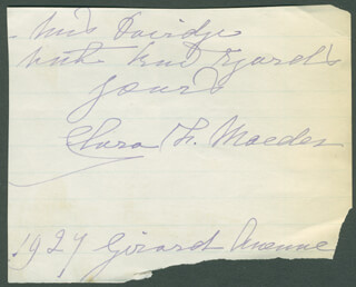 CLARA FISHER MAEDER - AUTOGRAPH NOTE SIGNED