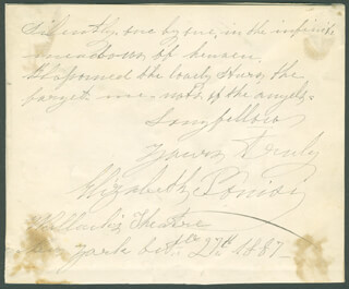 ELIZABETH PONISI - AUTOGRAPH QUOTATION SIGNED 10/27/1887