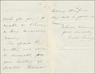 KATE TERRY - AUTOGRAPH LETTER SIGNED 12/19/1866