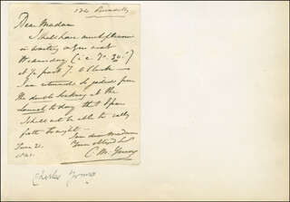 CHARLES MAYNE YOUNG - AUTOGRAPH LETTER SIGNED 06/21/1841