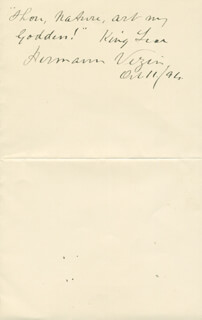 HERMANN VEZIN - AUTOGRAPH QUOTATION SIGNED 10/11/1894