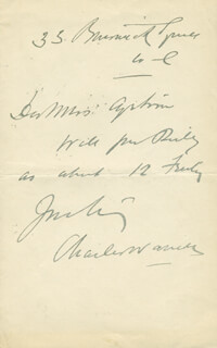 CHARLES WARNER - AUTOGRAPH NOTE SIGNED