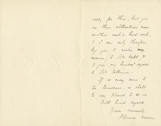 FLORENCE WARDEN - AUTOGRAPH LETTER SIGNED 09/29/1885