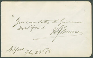 WILLIAM J. FLORENCE - AUTOGRAPH QUOTATION SIGNED 02/23/1885 CO-SIGNED BY: MALVINA PRAY FLORENCE
