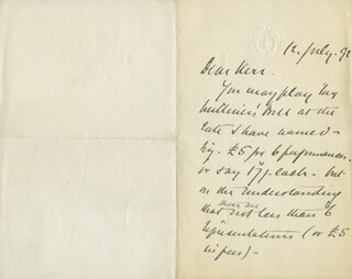 GEORGE W. COOPER - AUTOGRAPH LETTER SIGNED 07/12/1891