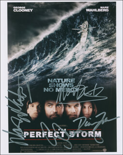 THE PERFECT STORM MOVIE CAST - AUTOGRAPHED SIGNED PHOTOGRAPH CO-SIGNED BY: DIANE LANE, GEORGE CLOONEY, MARK WAHLBERG, MARY ELIZABETH MASTRANTONIO
