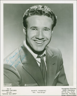 MARTY ROBBINS - AUTOGRAPHED INSCRIBED PHOTOGRAPH