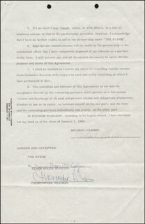 THE BYRDS - CONTRACT SIGNED 01/03/1968 CO-SIGNED BY: THE BYRDS (CHRIS HILLMAN), THE BYRDS (ROGER MCGUINN), THE BYRDS (MICHAEL CLARKE)