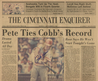 PETE ROSE - NEWSPAPER ARTICLE SIGNED