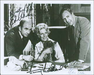 LOU GRANT TV CAST - AUTOGRAPHED SIGNED PHOTOGRAPH CO-SIGNED BY: NANCY MARCHAND, ED ASNER, MASON ADAMS