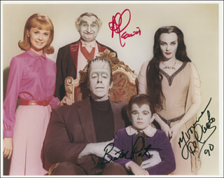 THE MUNSTERS TV CAST - AUTOGRAPHED SIGNED PHOTOGRAPH 1990 CO-SIGNED BY: AL LEWIS, BUTCH PATRICK, YVONNE DE CARLO