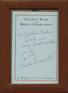 Autographs: PRESIDENT GEORGE H.W. BUSH - AUTOGRAPH NOTE SIGNED CO-SIGNED BY: BRENT SCOWCROFT