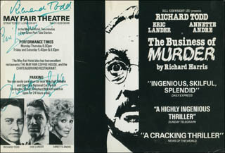 THE BUSINESS OF MURDER PLAY CAST - ADVERTISEMENT SIGNED CO-SIGNED BY: RICHARD TODD, ERIC LANDER, ANNETTE ANDRE