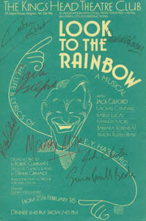 LOOK TO THE RAINBOW PLAY CAST - ADVERTISEMENT SIGNED CO-SIGNED BY: JACK GILFORD, MICHAEL CANTWELL, ISABELLE LUCAS, MANDY MORE, JOHN CHESTER, BARBARA ROSENBLAT, SIMON RUSSELL BEALE