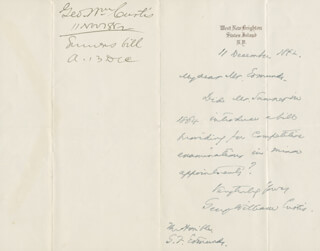 GEORGE WILLIAM CURTIS - AUTOGRAPH LETTER SIGNED 02/11/1882