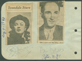 BEN BLUE - AUTOGRAPH CIRCA 1940 CO-SIGNED BY: ELLA LOGAN