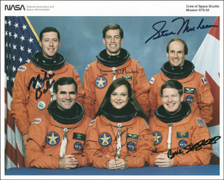 SPACE SHUTTLE COLUMBIA - STS - 52 CREW - AUTOGRAPHED SIGNED PHOTOGRAPH CO-SIGNED BY: CAPTAIN MIKE BAKER, TAMARA TAMMY JERNIGAN, CAPTAIN WILLIAM SHEPHERD, STEVE MacLEAN, CAPTAIN JAMES D. WETHERBEE