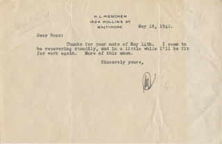 H. L. (HENRY LOUIS) MENCKEN - TYPED LETTER SIGNED 05/18/1942