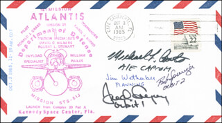 CAPTAIN JAMES D. WETHERBEE - COMMEMORATIVE ENVELOPE SIGNED CO-SIGNED BY: COLONEL ROBERT C. SPRINGER, CAPTAIN MICHAEL L. COATS, COLONEL FREDERICK D. GREGORY