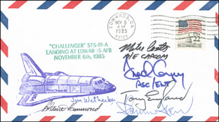 CAPTAIN MICHAEL L. COATS - COMMEMORATIVE ENVELOPE SIGNED CO-SIGNED BY: ANTHONY ENGLAND, SHANNON W. LUCID, COLONEL FREDERICK D. GREGORY, COLONEL L. BLAINE HAMMOND, CAPTAIN JAMES D. WETHERBEE