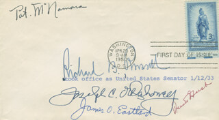 Autographs: PRESCOTT S. BUSH - FIRST DAY COVER SIGNED CO-SIGNED BY: PATRICK McNAMARA, JOSEPH C. O'MAHONEY, JAMES O. EASTLAND, RICHARD B. RUSSELL