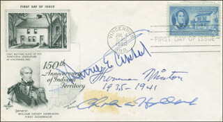 ASSOCIATE JUSTICE SHERMAN MINTON - FIRST DAY COVER SIGNED CO-SIGNED BY: CHARLES A. HALLECK, HOMER E. CAPEHART