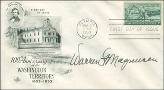 WARREN G. MAGNUSON - FIRST DAY COVER SIGNED