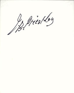 J.B. (JOHN) PRIESTLEY - AUTOGRAPHED SIGNED PHOTOGRAPH