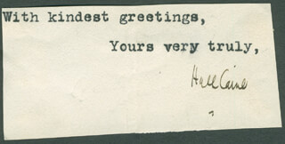 HALL (THOMAS HENRY HALL) CAINE - TYPED SENTIMENT SIGNED