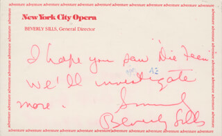 BEVERLY SILLS - AUTOGRAPH NOTE SIGNED 06/10/1982
