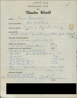 EDITH GRESHAM - AUTOGRAPH RESUME SIGNED