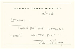 THOMAS JAMES O'LEARY - AUTOGRAPH NOTE SIGNED 06/14/1998
