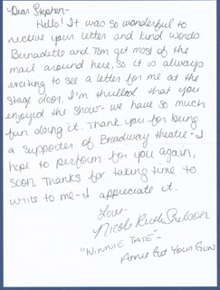 NICOLE RUTH NIKKI SNELSON - AUTOGRAPH LETTER SIGNED