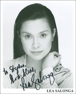 LEA SALONGA - INSCRIBED PRINTED PHOTOGRAPH SIGNED IN INK