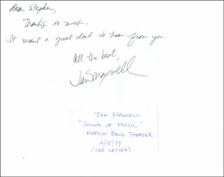 JAN MAXWELL - AUTOGRAPH NOTE ON PHOTOGRAPH SIGNED
