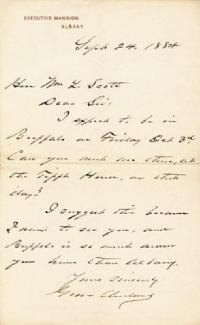 PRESIDENT GROVER CLEVELAND - AUTOGRAPH LETTER SIGNED 09/24/1884