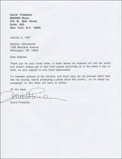 DAVID FRIEDMAN - TYPED LETTER SIGNED 01/02/1997