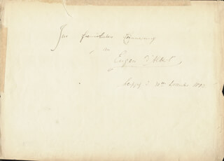 EUGEN D'ALBERT - AUTOGRAPH NOTE SIGNED 12/30/1883 CO-SIGNED BY: MARIE SCHANZER VON BULOW
