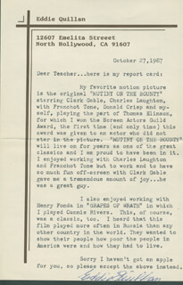 EDWARD EDDIE QUILLAN - TYPED LETTER SIGNED 10/27/1987