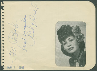 Autographs: RUBY HILL - AUTOGRAPH NOTE SIGNED 03/09/1946