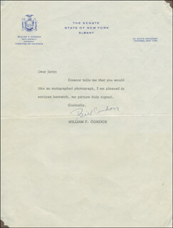 Autographs: WILLIAM F. CONDON - TYPED LETTER SIGNED