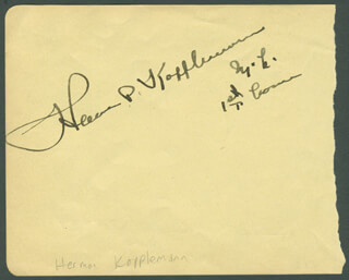 HERMAN P. KOPPLEMAN - AUTOGRAPH CO-SIGNED BY: JAMES W. MOTT, DONALD H. McLEAN