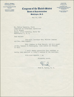 Autographs: FRED E. BUSBEY - TYPED LETTER SIGNED 05/10/1954