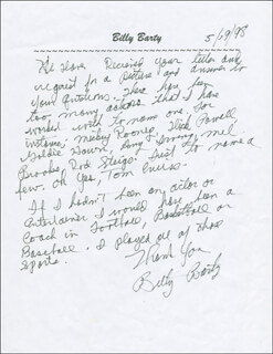 Autographs: BILLY BARTY - AUTOGRAPH LETTER SIGNED 05/19/1998