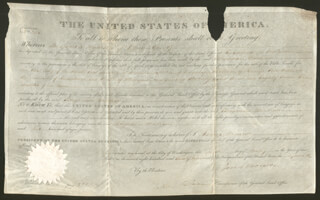 PRESIDENT JAMES MONROE - LAND GRANT SIGNED 05/01/1823 CO-SIGNED BY: ASSOCIATE JUSTICE JOHN MCLEAN