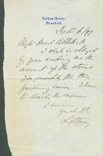 Autographs: EDWARD GEORGE (2ND EARL OF LATHOM) BOOTLE-WILBRAHAM - AUTOGRAPH LETTER SIGNED 09/06/1899